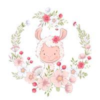 Ansichtkaart poster schattige lama in een krans van bloemen. Handtekening. Vector