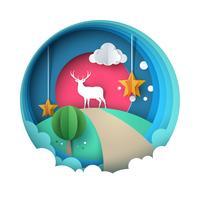 Gelukkig Nieuwjaar illustratie. Vrolijk kerstfeest. Hert, zon, wolk, ster, winter