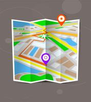 Abstracte gevouwen stadskaart met locatiemarkeringen. vector
