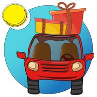 Cartoon auto met bagage vector