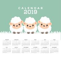 Kalender 2019 met schattige schapen cartoon. vector