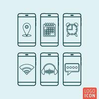 Smartphone-pictogram geïsoleerd. vector
