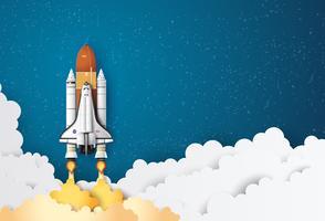 Space shuttle opstijgen op een missie vector