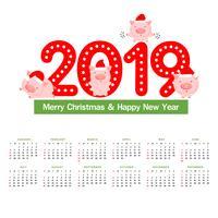 Kalender 2019 met schattige varkens.