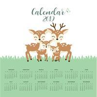Kalender 2019 met schattige hertenfamilie. vector