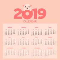Kalender 2019 met schattige varkens. vector