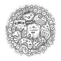 Leuke monster doodles cartoon cirkel stijl. vector
