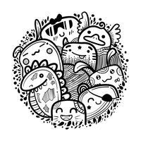 Cirkel schattig monster doodles vector. vector