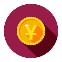 Vector gouden munt. De vlakke stijl.