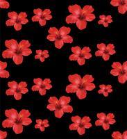 Rode Hibiscusbloemen, bloemen naadloos patroon Vectorillustratie op zwarte achtergrond.