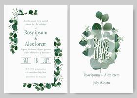 Groen bruiloft uitnodiging, sjabloon Eucalyptus bruiloft uitnodiging.