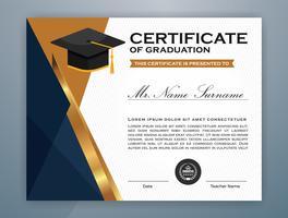 Middelbare school diploma certificaatsjabloon sjabloonontwerp vector
