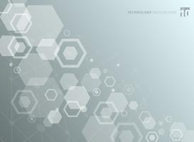 Abstracte zeshoekige structuur van de moleculen. De chemische moleculaire studie. Technische achtergrond.