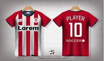 Voetbal shirt en t-shirt sport mockup sjabloon, grafisch ontwerp voor voetbal kit of activewear uniformen. vector