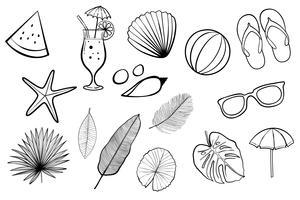 Zomer ontwerp pictogrammen, elementen en foto booth rekwisieten instellen. Vectorillustratie.