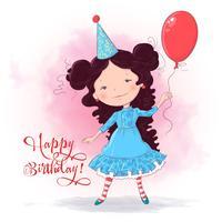 Briefkaartaffiche van een leuk meisje met een ballon. Handtekening. Cartoon stijl. Vector