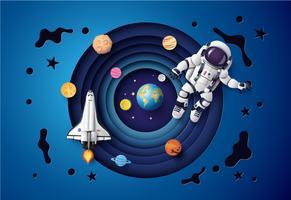 Astronaut drijvend in de stratosfeer. vector