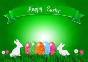 Pasen-vakantieachtergrond met eieren op groen gras en wit konijn, vectorillustratie
