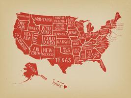 Vintage Amerikaanse kaart Poster met Statennamen