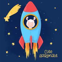 Ansichtkaart poster van een schattige lama op een raket. Cartoon stijl. Vector