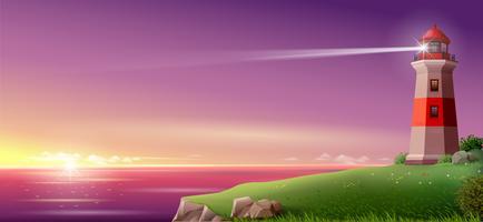 Realistische vuurtoren op een groene heuvel boven de zee in de nacht. Brede banner of achtergrond. Vector illustratie.
