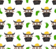 Naadloos patroon van leuk die buffelsbeeldverhaal met gras op witte achtergrond wordt geïsoleerd - vectorillustratie vector