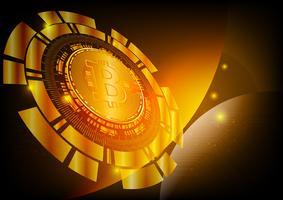 Digitale de munt abstracte achtergrond van Bitcoin voor technologie, zaken en online marketing, Vectorillustratie