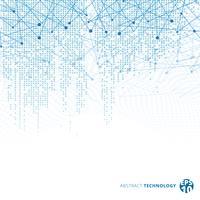 Abstracte technologie digitale gegevens vierkante blauwe patroon pixel met lijnen verbinden stippen op witte kleur achtergrond.