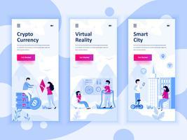 Set onboarding-schermen gebruikersinterfacekit voor Cryptocurrency, Smart City, Virtual Reality, concept mobiele app-sjablonen. Modern UX, UI-scherm voor mobiele of responsieve website. Vector illustratie.