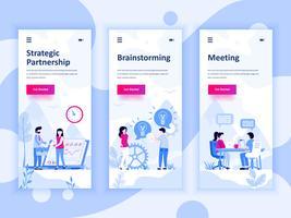 Set van onboarding schermen gebruikersinterfaceset voor Partnership, Brainstorming, Meeting, mobiele app-sjablonen concept. Modern UX, UI-scherm voor mobiele of responsieve website. Vector illustratie.