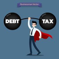 De zakenman draagt rode kaap die een zware domoor van schuld en belasting opheft zeer gemakkelijk.