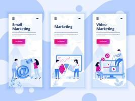 Set van onboarding schermen gebruikersinterfacekit voor video, e-mail, digitale marketing, mobiele app sjablonen concept. Modern UX, UI-scherm voor mobiele of responsieve website. Vector illustratie.