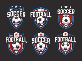 Voetbal vector emblemen instellen