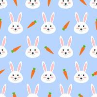 Naadloos patroon van leuk wit konijn met wortel op witte achtergrond - Vectorillustratie