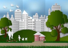 Document kunst van mensen en huisdieren met stad en boom op groen achtergrondecologieidee, vectorillustratie