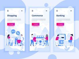 Set van onboarding schermen gebruikersinterfacekit voor winkelen, e-commerce, bankieren, mobiele app sjablonen concept. Modern UX, UI-scherm voor mobiele of responsieve website. Vector illustratie.