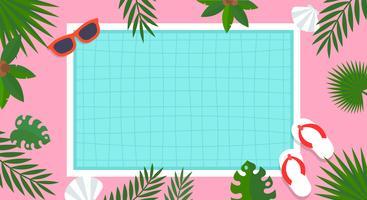 Zomervakantie, zwembad poster vectorillustratie