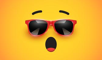 Hoog detiled kleurrijke emoticon met zonnebril, vectorillustratie