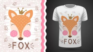 Leuke vos - idee voor print t-shirt. vector