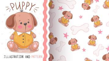 Hond, verstandig puppy - naadloos patroon vector