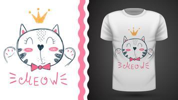Mooi kittty idee voor print t-shirt vector