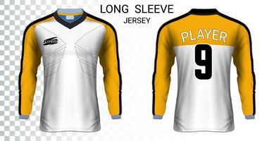 Lange mouw voetbalshirts t-shirts mockup sjabloon, grafisch ontwerp voor voetbal uniformen.