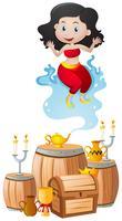 Genie en de lamp in stapel schatten