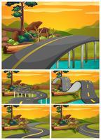 Vijf scènes van weg bij zonsondergang