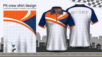Polo-t-shirt met rits, mockupsjabloon Racing uniformen voor actieve kleding en sportkleding. vector