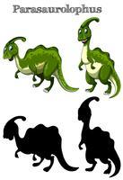 Twee parasaurolophus met silhouet op witte achtergrond