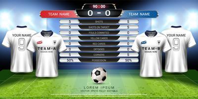 Voetbal beker sjabloon voor sportevenement, voetbal jersey mock-up en scorebord wedstrijd, wereldwijde strategie uitgezonden grafische sjabloon.