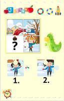 Puzzelspel met kinderen die in sneeuw spelen