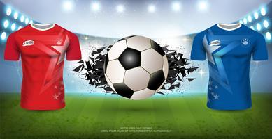 Voetbaltoernooi sjabloon voor sportevenement, voetbal shirt mock-up team A vs team B.