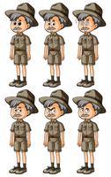 Man in safari-outfit met verschillende emoties